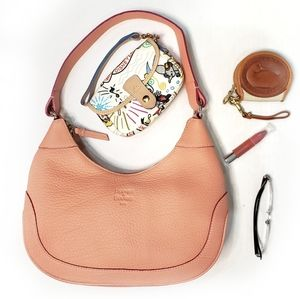 NWT Dooney Leather Coral Pink Hobo Purse Bag Tote